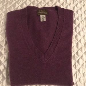Hundred percent to ply cashmere V-neck sweater